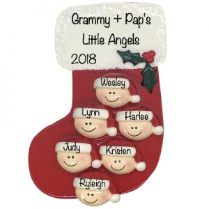 Red Stocking Family of 6 Personalized Ornament