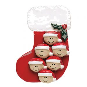 Stocking Family of 6 Personalized Christmas Ornament - Blank