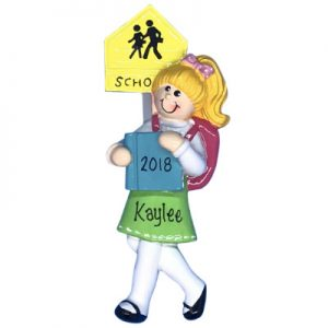 Girl School Blonde Personalized Ornament