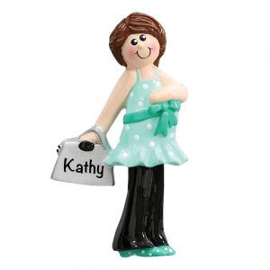 Pregnant Woman with Purse Personalized Christmas Ornament