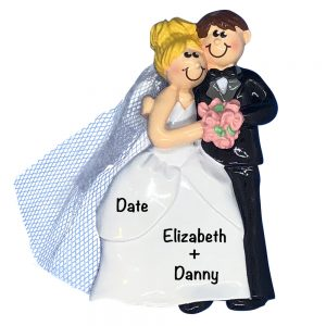 Wedding Couple Blonde Girl Personalized Christmas Ornament