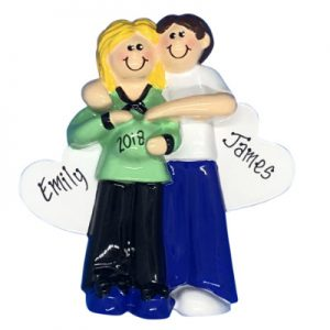 Pregnant Couple Green Shirt Blonde Personalized Ornament
