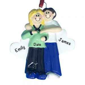 Expecting Couple Green Shirt Personalized Christmas Ornament