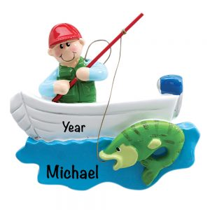 Fishing Boat Bass Personalized Christmas Ornament