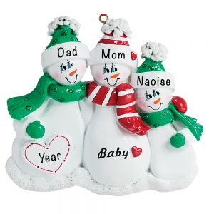 Expecting Family of 3 Personalized Christmas Ornament
