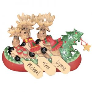 Moose Canoe Family of 3 Personalized Ornament