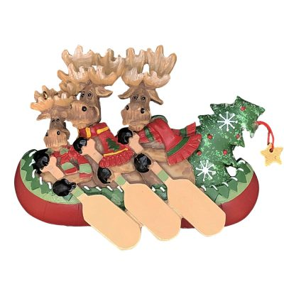 Moose Canoe Family of 3 Personalized Christmas Ornament - Blank