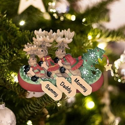 Personalized Moose Canoe Family of 3 Christmas Ornament