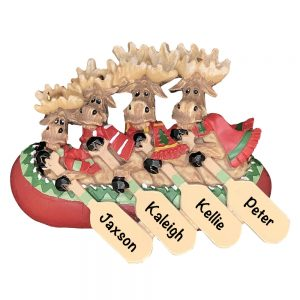 Moose Canoe Family of 4 Personalized Christmas Ornament
