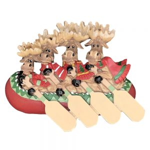 Moose Canoe Family of 4 Personalized Christmas Ornament - Blank