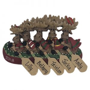 Moose Canoe Family of 5 Personalized Ornament