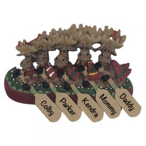 Moose Canoe Family of 5 Personalized Christmas Ornament