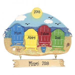 Beach Chair Family of 4 Personalized Christmas Ornament