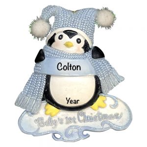 Baby's 1st Christmas Penguin Boy Personalized Christmas Ornament