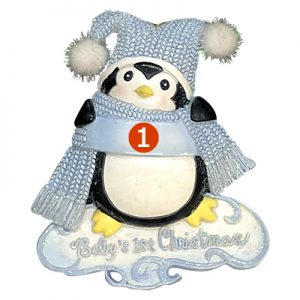 Baby's 1st Christmas Penguin Boy Personalized Ornament- numbered