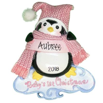 Baby's 1st Christmas Penguin Girl Personalized Ornament