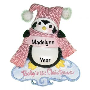 Pink Baby's 1st Christmas Penguin Personalized Christmas Ornament