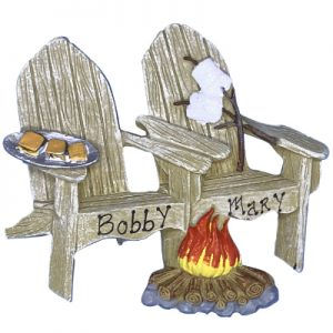 Adirondack Chair Campfire and S'mores Couple Personalized Ornament