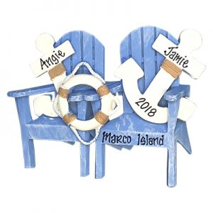 Adirondack Chairs with Anchor Couple Personalized Ornament