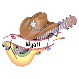 Guitar Cowboy Hat Personalized Christmas Ornament