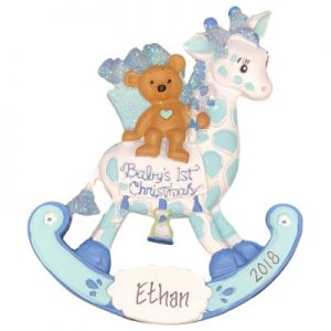 Baby's 1st Christmas Rocking Giraffe Boy Personalized Ornament