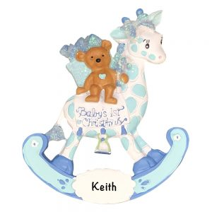 Blue Baby's 1st Christmas Giraffe Personalized Christmas Ornament