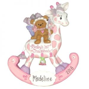 Baby's 1st Christmas Rocking Giraffe Girl Personalized Ornament