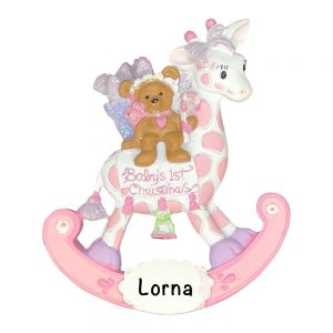Pink Baby's 1st Christmas Giraffe Personalized Christmas Ornament