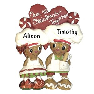 Gingerbread Couple 1st Christmas Personalized Christmas Ornament