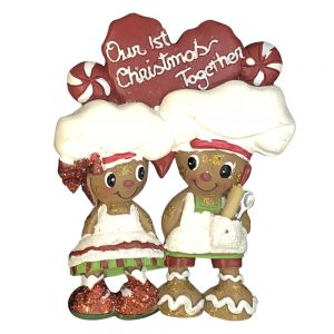 H5130 Gingerbread Couple 1st Christmas Personalized Christmas Ornament - Blank