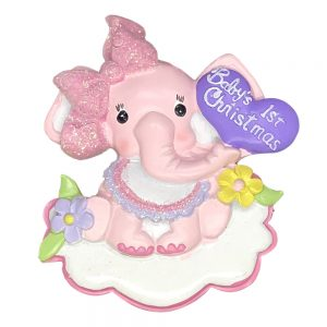 H5147 Pink Baby's 1st Christmas Girl Elephant Personalized Christmas Ornament - Blank