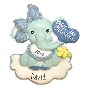 Baby's 1st Christmas Elephant Boy Personalized Ornament