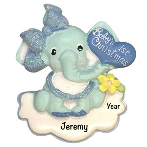 Baby's 1st Christmas Elephant Boy Personalized Christmas Ornament