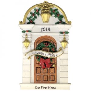 Our First Home Holly Door Personalized Ornament