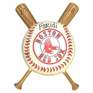 Boston Red Sox Baseball with Bat Personalized Ornament