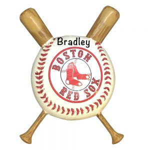 Boston Red Sox Baseball Personalized Christmas Ornament