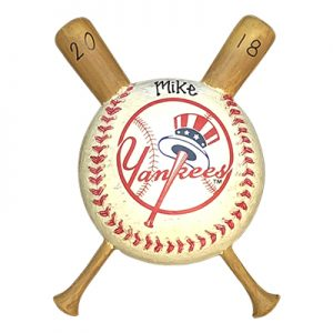 New York Yankees Baseball with Bat Personalized Ornament