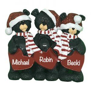 Black Bear Hearts Family of 3 Personalized Table Top Ornament