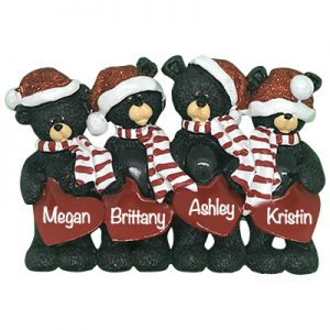 Black Bear Hearts Family of 4 Personalized Table Top Ornament