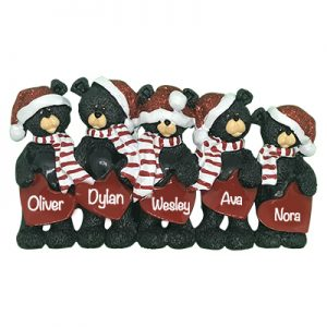 Black Bear Hearts Family of 5 Personalized Table Top Ornament