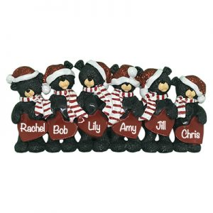 Black Bear Hearts Family of 6 Personalized Table Top Ornament