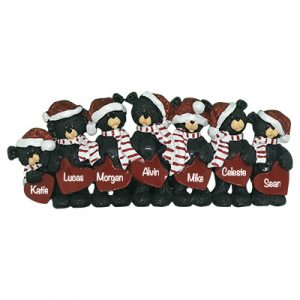 Black Bear Hearts Family of 7 Personalized Table Top Ornament
