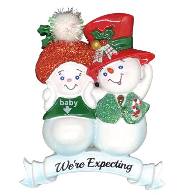 We're Expecting Couple Personalized Christmas Ornament - Blank