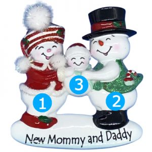 New Mom and Dad Snow Family Personalized Ornament