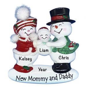 New Mommy and Daddy Personalized Christmas Ornament