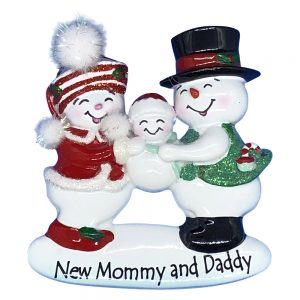 New Mommy and Daddy Personalized Christmas Ornament - Blank