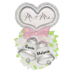 Mr and Mrs Wedding Bells Personalized Christmas Ornament