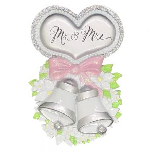 Mr and Mrs Wedding Bells Personalized Christmas Ornament - Blank