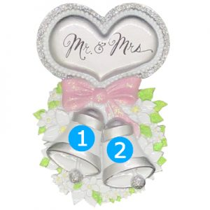 Mr and Mrs Wedding Bells with Heart Personalized Ornament