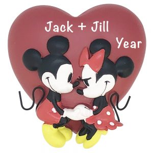Minnie and Mickey Mouse Love Disney Personalized Christmas Ornament